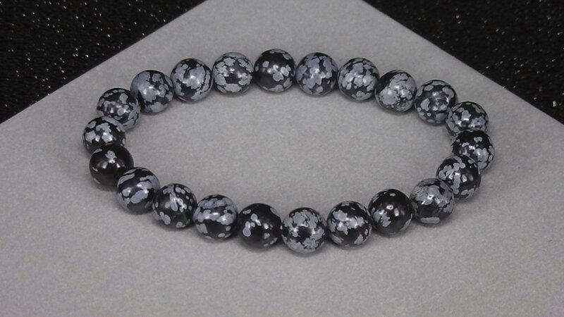 náramok obsidián vločkový šperky z polodrahokamov liečivé šperky ... ed15b6c32c9